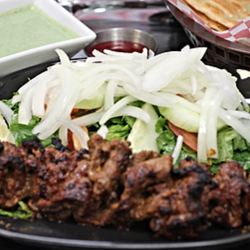 Bihari kabob Platter with salad, two parathas & Raita